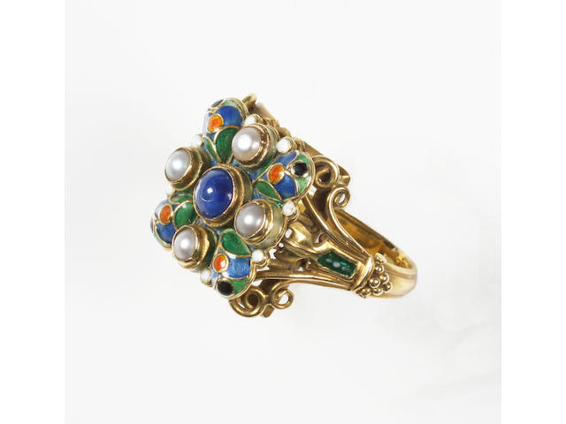 An Arts and Crafts sapphire, pearl and enamel ring by Winifred Whiteside Unmarked,