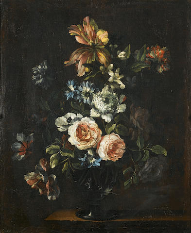 Circle of Jean-Baptiste Monnoyer (Lille 1636-1699 London) Roses, tulips, chrysanthemums and other flowers