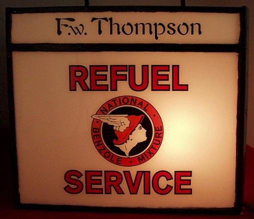 A National Benzole Refuel Service illuminated light box,