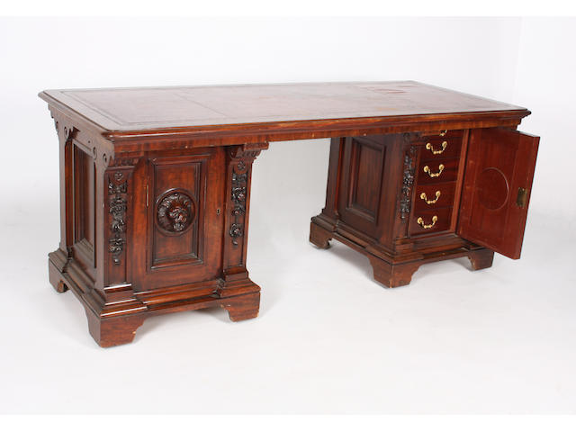 A smart mid-19th century mahogany twin pedestal library desk of Gillows quality