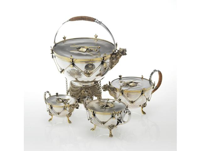 A Victorian novelty silver and parcel-gilt four piece tea service, by E.C. Brown, London 1867,  (4)
