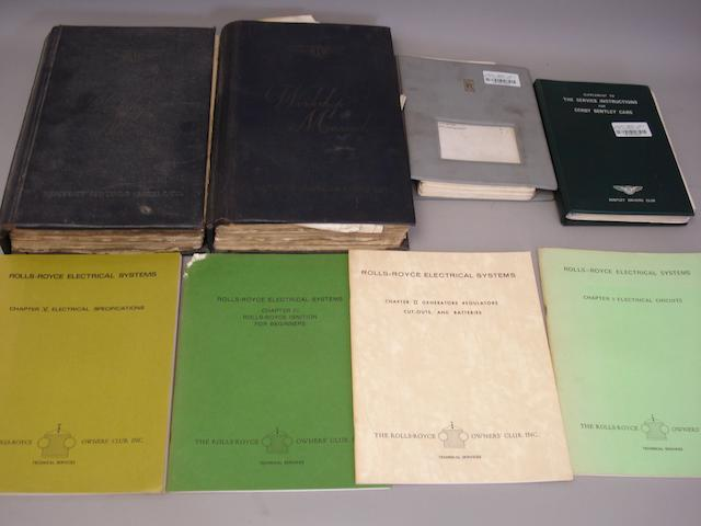 Nine Rolls-Royce and Bentley Technical books,