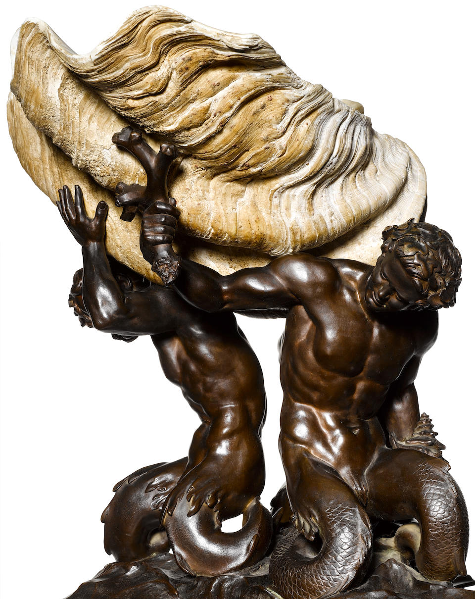 An important Italian 19th century patinated bronze and giant tropical Tridacna Gigas shell centre-pieceattributed to Lodovico Pogliaghi