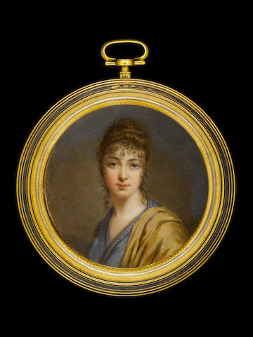 C. Vernet (Prussian, active early 19th Century) A Lady, wearing blue dress and ochre-coloured cloak over her left shoulder, her hair dressed in ringlets, plaited and piled high
