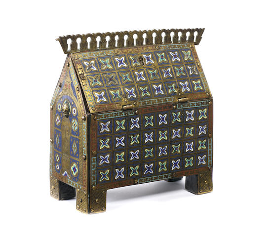 A French 13th century style enamel and gilt copper châsse-reliquaire probably 19th century, possibly with earlier elements
