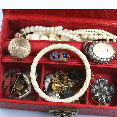A fob watch, with engraved case stamped '585', a pair of seed pearl set anchor ear studs, other ear studs, engraved locket a/f, Victorian engraved locket, Danish cross pendant, ivory beads, amethyst set Arts & Crafts style brooch, mourning brooch.