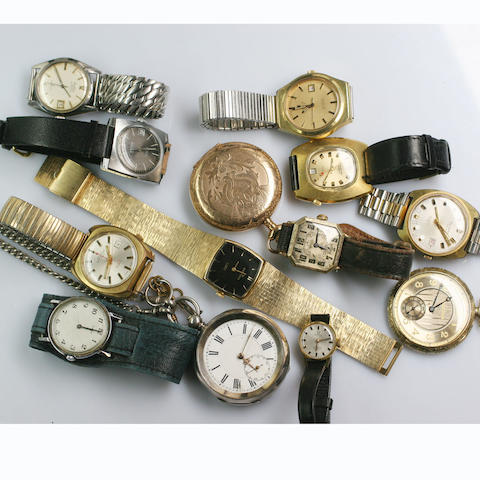 A collection of three pocket watches and ten wristwatches, 13