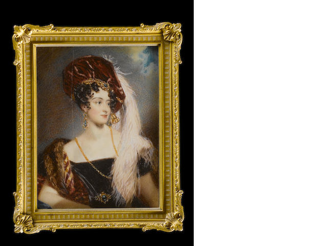 Alfred Edward Chalon, RA (British, 1780-1860) Sarah Sophia Child Villiers, Countess of Jersey (née Fane) (1785-1867), wearing off the shoulder black dress, crimson and gold striped mantle lined with fur, crimson velvet hat dressed with gold tassel and falling white ostrich feathers, gold necklace and suite of emerald set gold jewellery to include headband, pendent earrings and waistband buckle