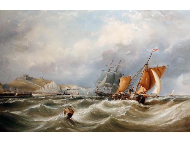 Ebenezer Colls (British, 1812-1887) Shipping off a coast