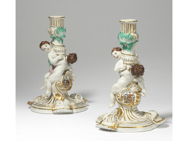 A very rare pair of Meissen candlesticks from the Swan Service circa 1740