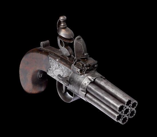 A Very Rare 140-Bore Seven-Barrelled Flintlock Box-Lock Pepperbox Revolver