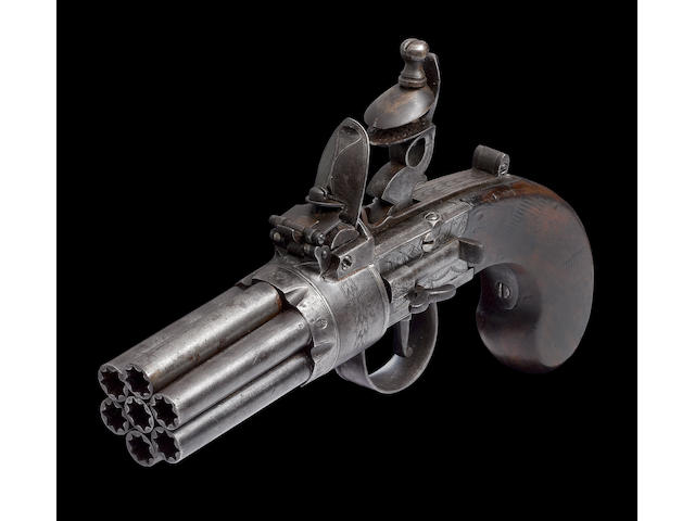 A Very Rare 140-Bore Seven-Barrelled Flintlock Box-Lock Pepperbox Revolver