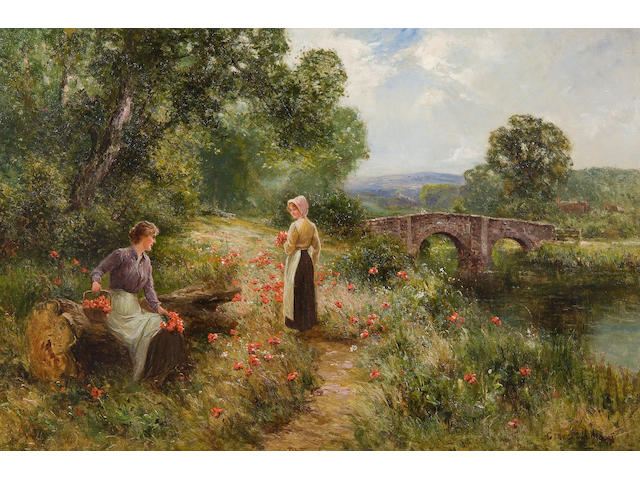 Ernest Walbourn (British, 1872-1927) Collecting poppies