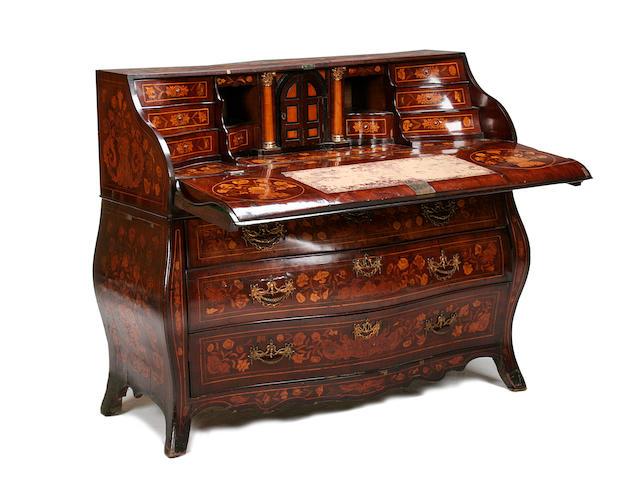 A late 18th century Dutch walnut and marquetry bureau