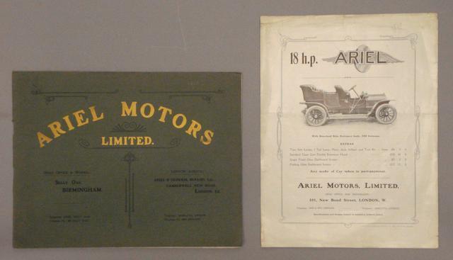 A 1910 Ariel Motors Limited sales catalogue,