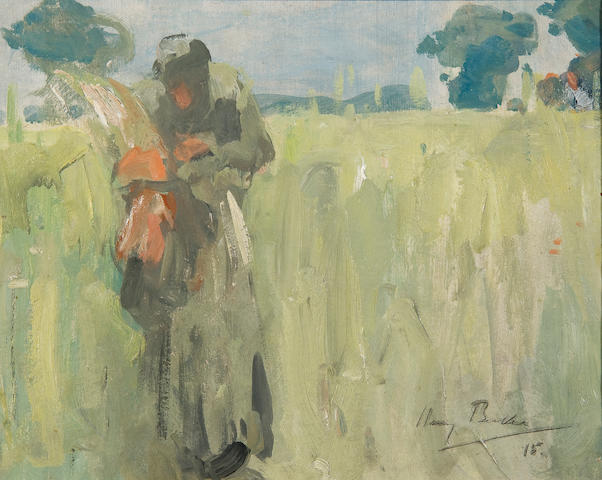 Harry Becker (British, 1865-1928) Woman gleaning