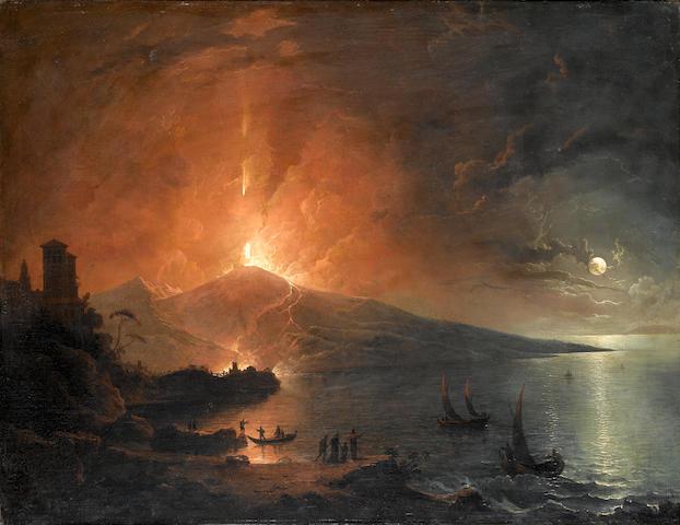 English School The Eruption of Vesuvius by night