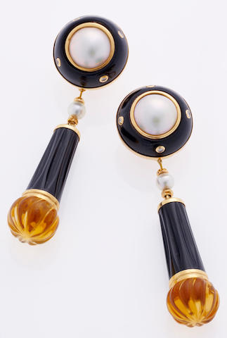 A pair of onyx, citrine, mabé cultured pearl and diamond day/night earclips