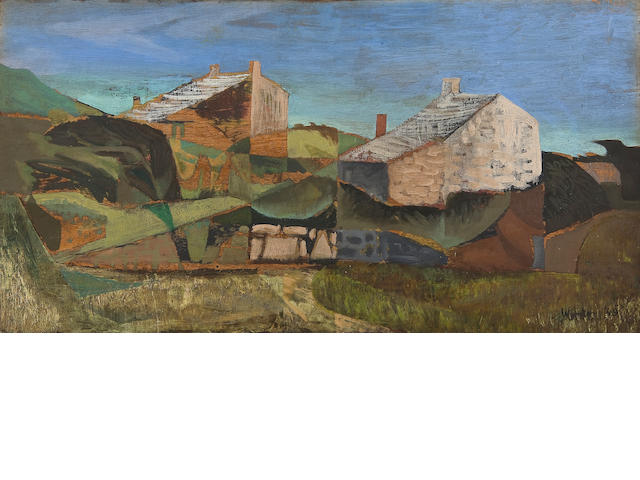 Bryan Wynter (British, 1915-1975) 'Landscape with cottages'
