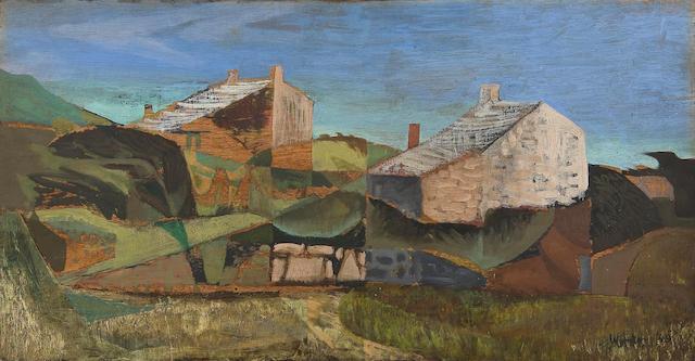 Bryan Wynter (British, 1915-1975) 'Landscape with cottages'