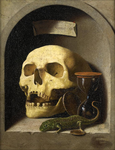 Circle of Cornelis Norbertus Gysbrechts (Antwerp 1630-circa 1683) A skull, a lizard, coins and a hourglass in a painted stone niche