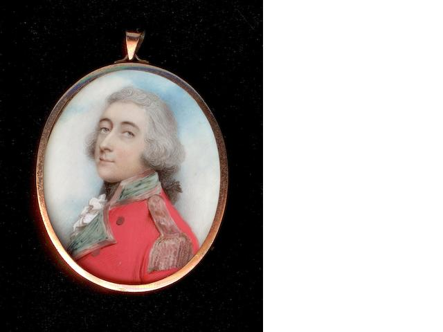 Andrew Plimer (British, 1763-1837) Steven Butler, wearing uniform of scarlet coatee with gold edged green collar and facings, gold epaulette, frilled white chemise and black stock, his hair powdered and worn en queue with a black ribbon bow