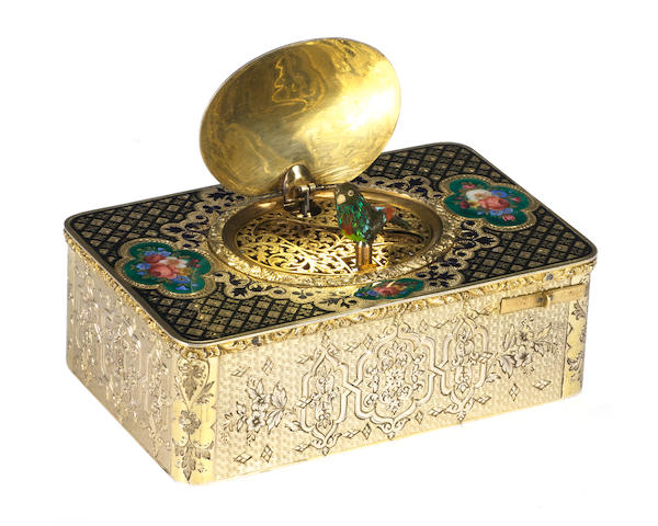 A very fine silver-gilt and enamel singing bird box by Bruguier, circa 1820,