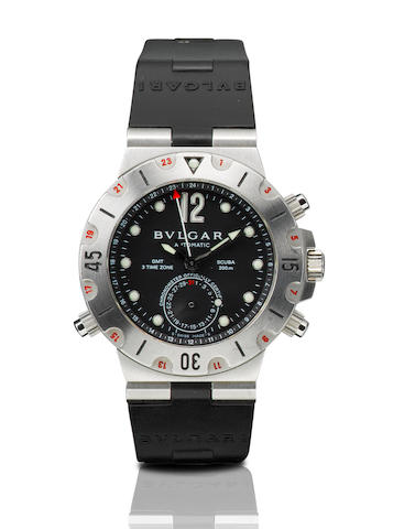 Bvlgari. A fine stainless steel automatic 3 time zone GMT wristwatch with calendarScuba 200m, SD38S, Case No. D1628, Circa 2001