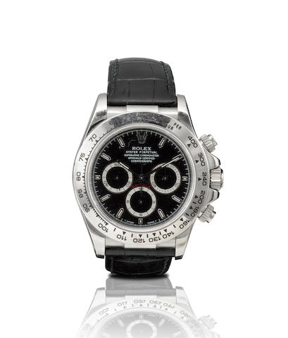 Rolex. A very fine 18ct white gold chronograph automatic wristwatchDaytona, Ref: 116519, Serial no.U868447, Circa 1998