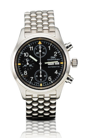 IWC. A fine stainless steel automatic chronograph with calendar wristwatchFliegerchronograph, Ref: 3705, Case No. 2621614, Circa 1990