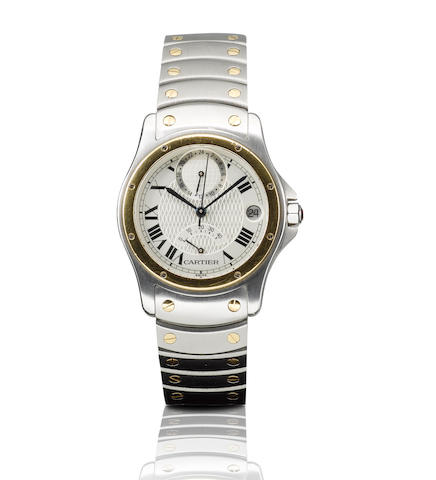 Cartier. A fine 18ct gold and stainless steel limited edition automatic wristwatch with power reserve GMT and calendarLC, Case No. 0138/1847, Circa 1997