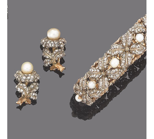 A pearl and diamond bangle and earring suite, by Buccellati (2)