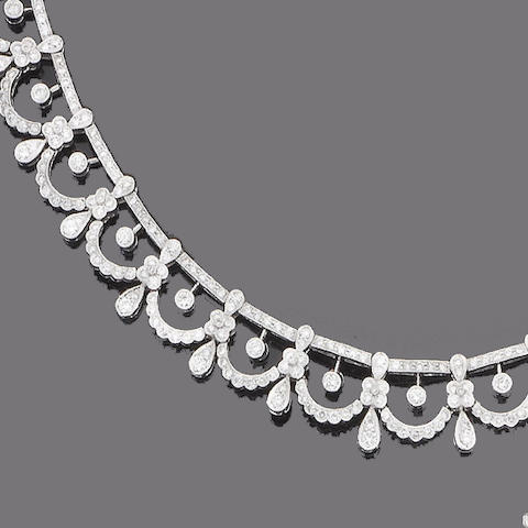 A diamond fringe necklace