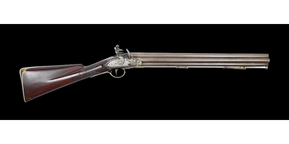 A Very Rare 40-Bore Second Model Seven-Barrelled Flintlock Volley Gun