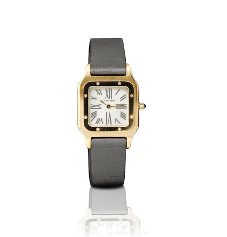 Cartier. A fine 18ct pink gold manual wind limited edition ladies wristwatchSantos-Dumonr, Mecaniqe, Ref: 1577, Limited Edition No. 22/50, Circa 2004