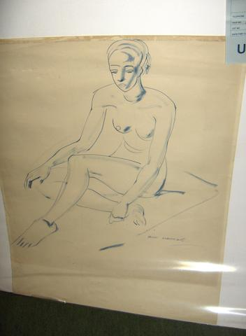 Iain MacNab (British, 1890-1967) nude study of a woman together with a unsigned pencil sketch