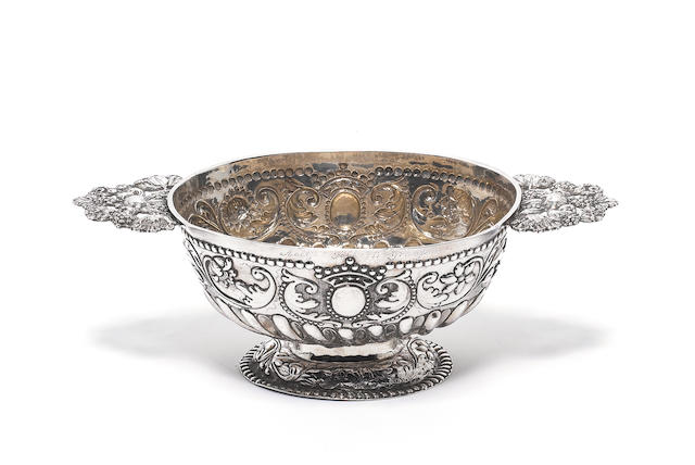 An 18th century Dutch silver two-handled brandy bowl, by Gerard van Velsen, Bolsward 1766,