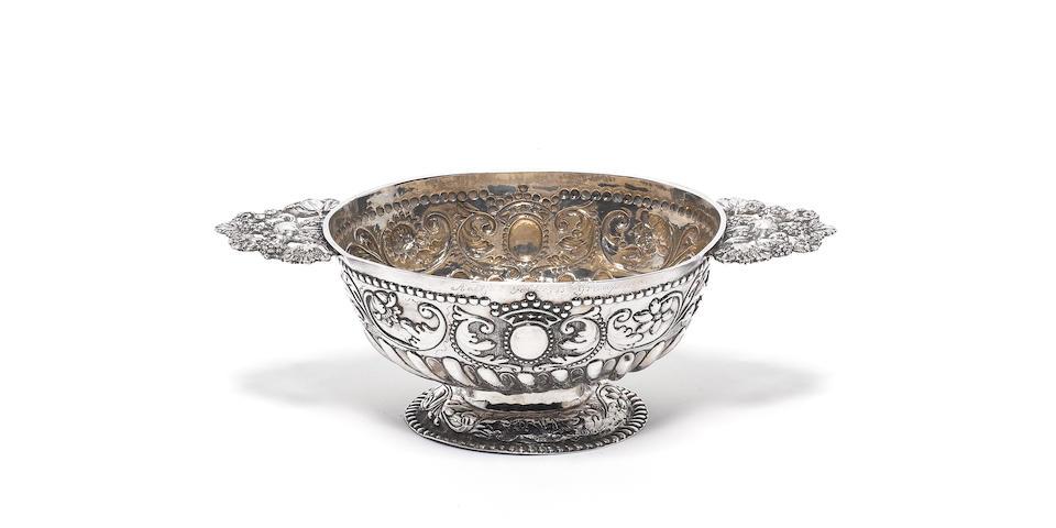 An 18th century Dutch silver two-handled brandy bowl, by Gerard van Velsen, Bolsward 1766,