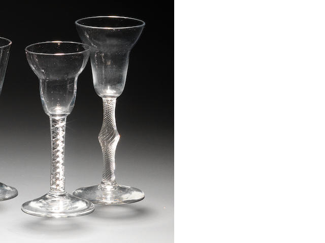 Two pan-topped airtwist wine glasses circa 1755