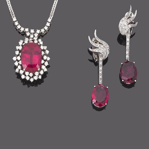 A pink tourmaline and diamond pendant and pair of earrings (2)