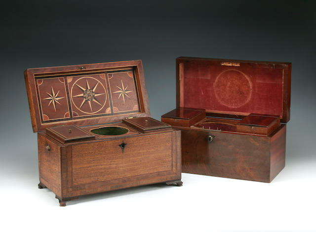 Two late 18th Century mahogany tea caddies
