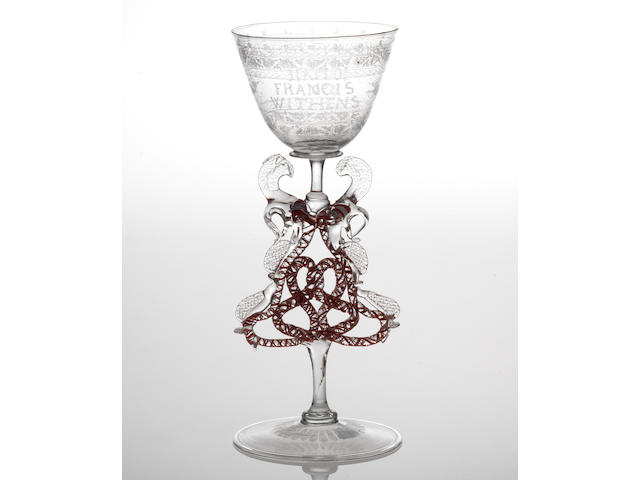 The Withens Goblet, a Dutch diamond-point engraved façon de Venise goblet circa 1680