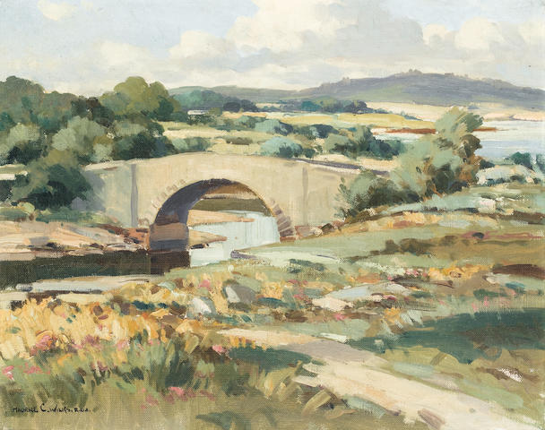 Maurice Canning Wilks R.U.A., A.R.H.A. (Irish, 1910-1984) Lackagh Bridge, Co. Donegal 40.6 x 50.8 cm. (16 x 20 in.)