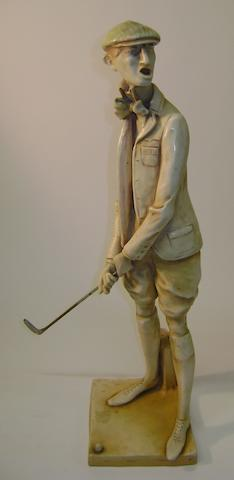 A rare and large sized Amphora ceramic golfer