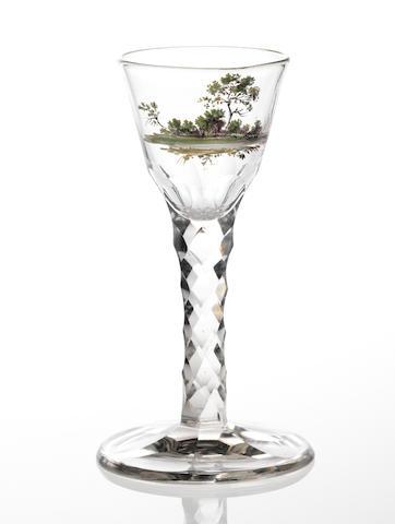 A rare Beilby polychrome enamelled facet-stem wine glass circa 1770
