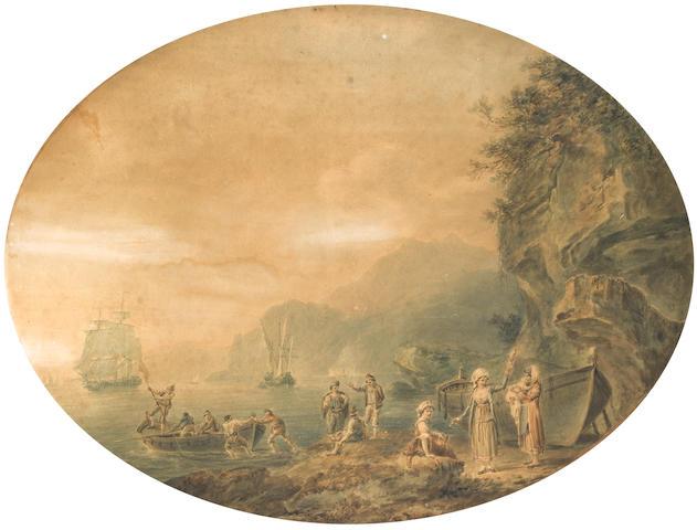 Nicholas Pocock (British, 1741-1821) Landing on a rocky shore.
