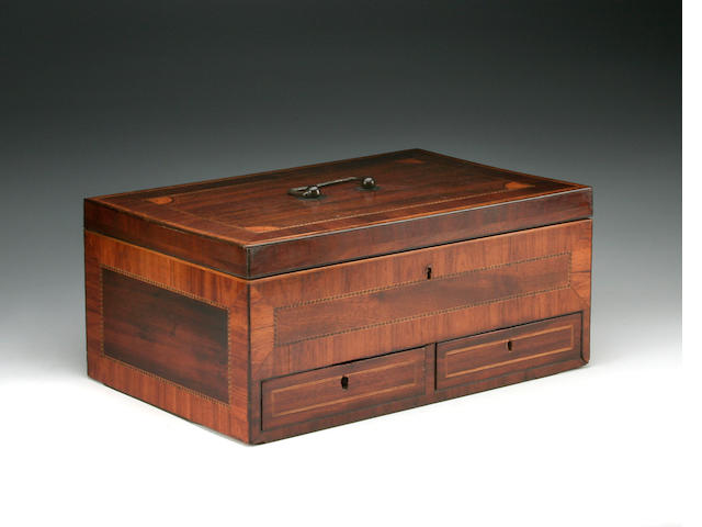 An early 19th Century inlaid mahogany dressing-box