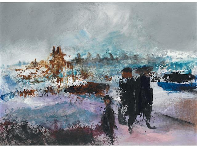 Daniel O'Neill (Irish, 1920-1974) Going for a Stroll 45.7 x 61.5 cm. (18 x 24 1/4 in.)