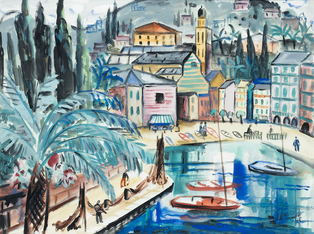 Norah McGuinness (Irish, 1901-1980) Portofino 41.7 x 56 cm. (16 1/2 x 22 in.)