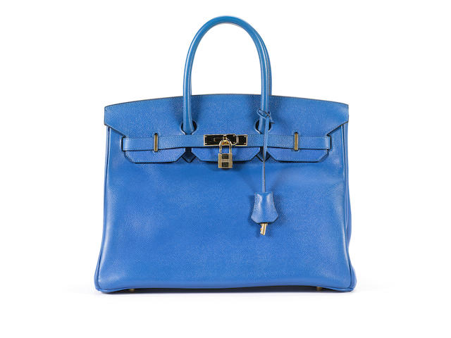 A French Hermes blue Birkin bag
